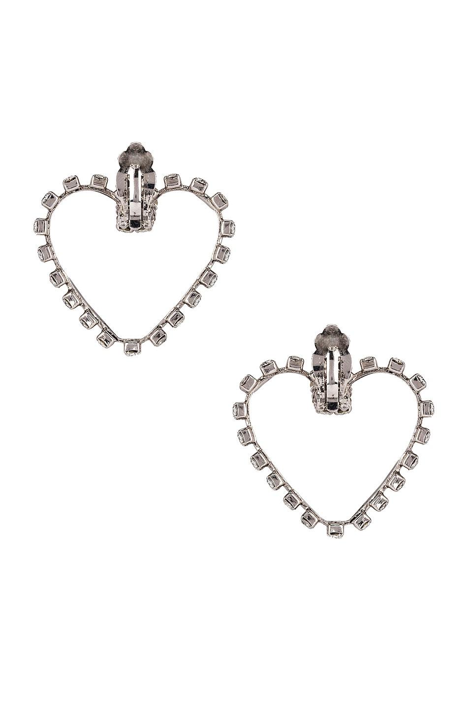 Image 4 of Saint Laurent Heart Clip Earrings in Silver & Crystal