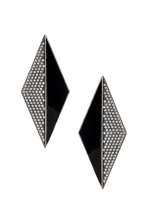 Image 1 of Saint Laurent Diamond Earrings in Silver & Crystal