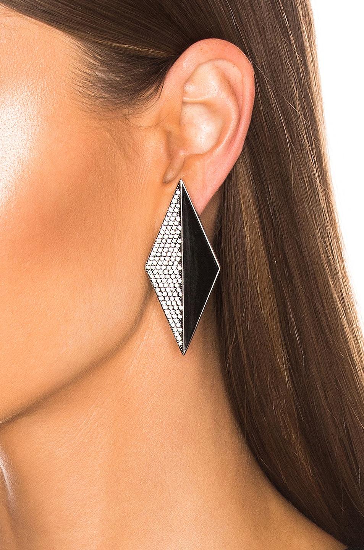 Image 2 of Saint Laurent Diamond Earrings in Silver & Crystal