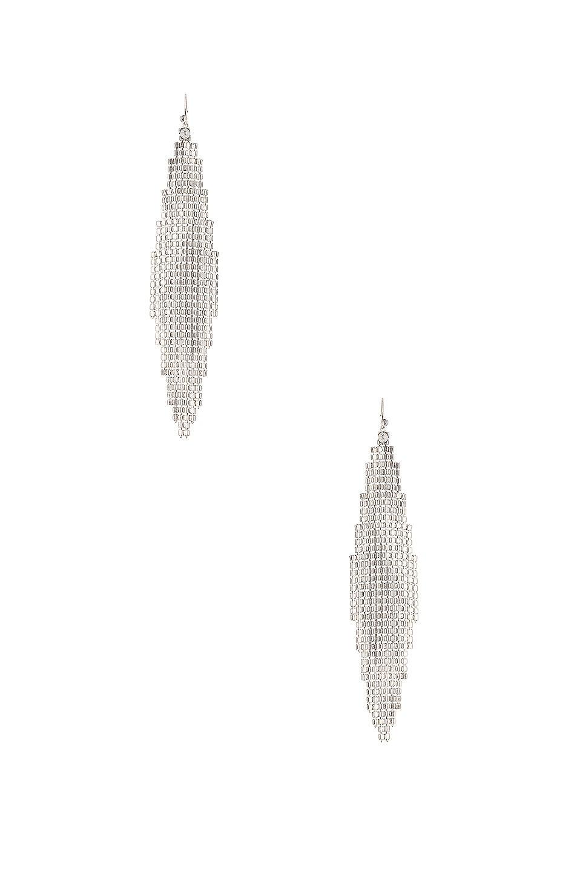 Image 3 of Saint Laurent Mesh Chandelier Earrings in Silver & Crystal