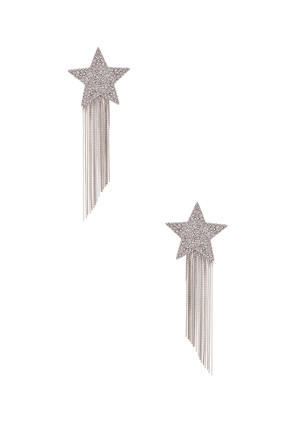 Image 1 of Saint Laurent Shooting Star Earrings in Palladium & Crystal