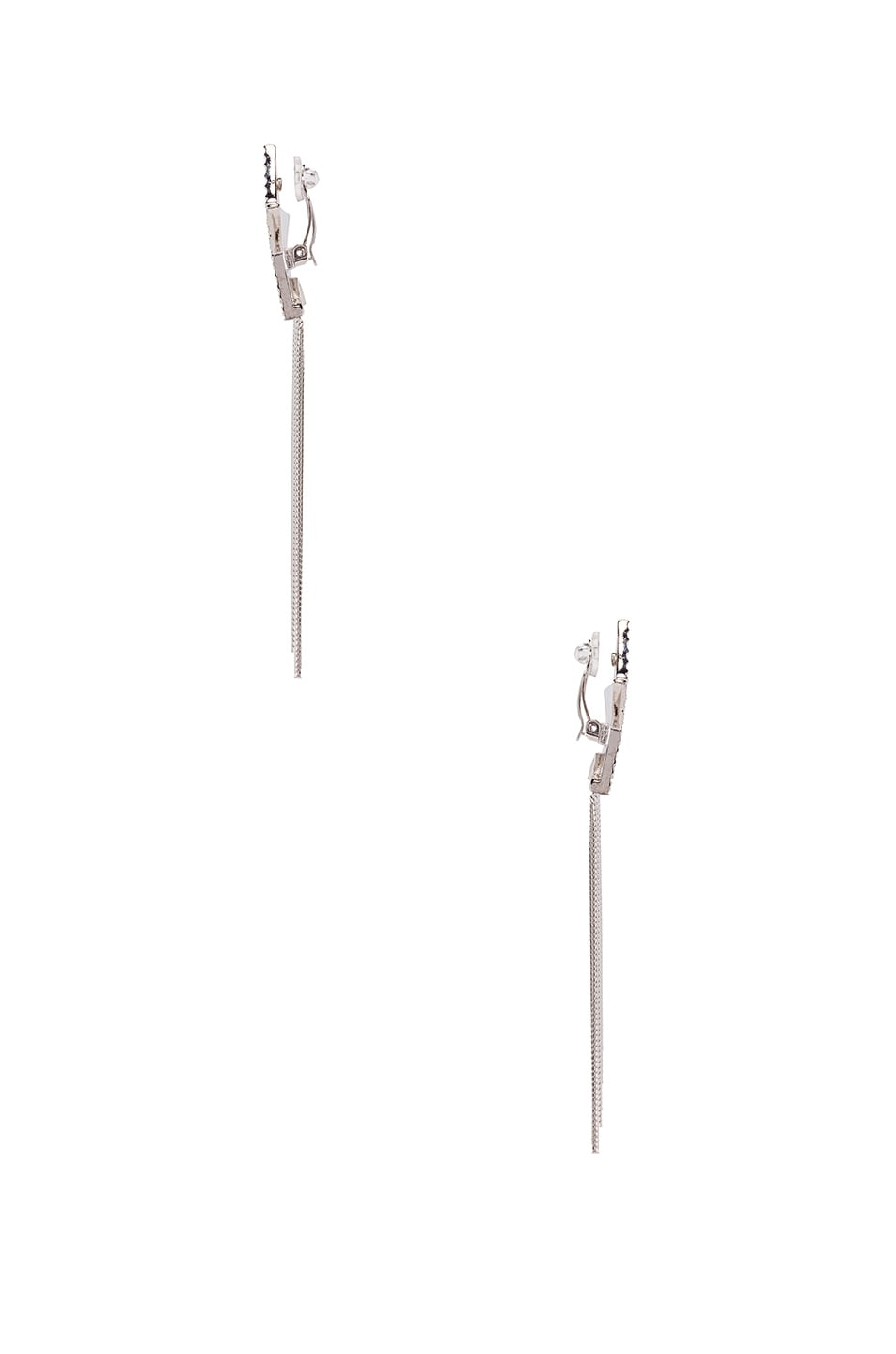 Image 2 of Saint Laurent Shooting Star Earrings in Palladium & Crystal