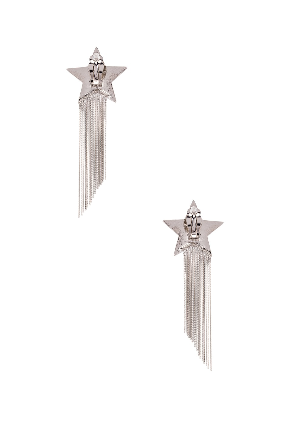 Image 3 of Saint Laurent Shooting Star Earrings in Palladium & Crystal