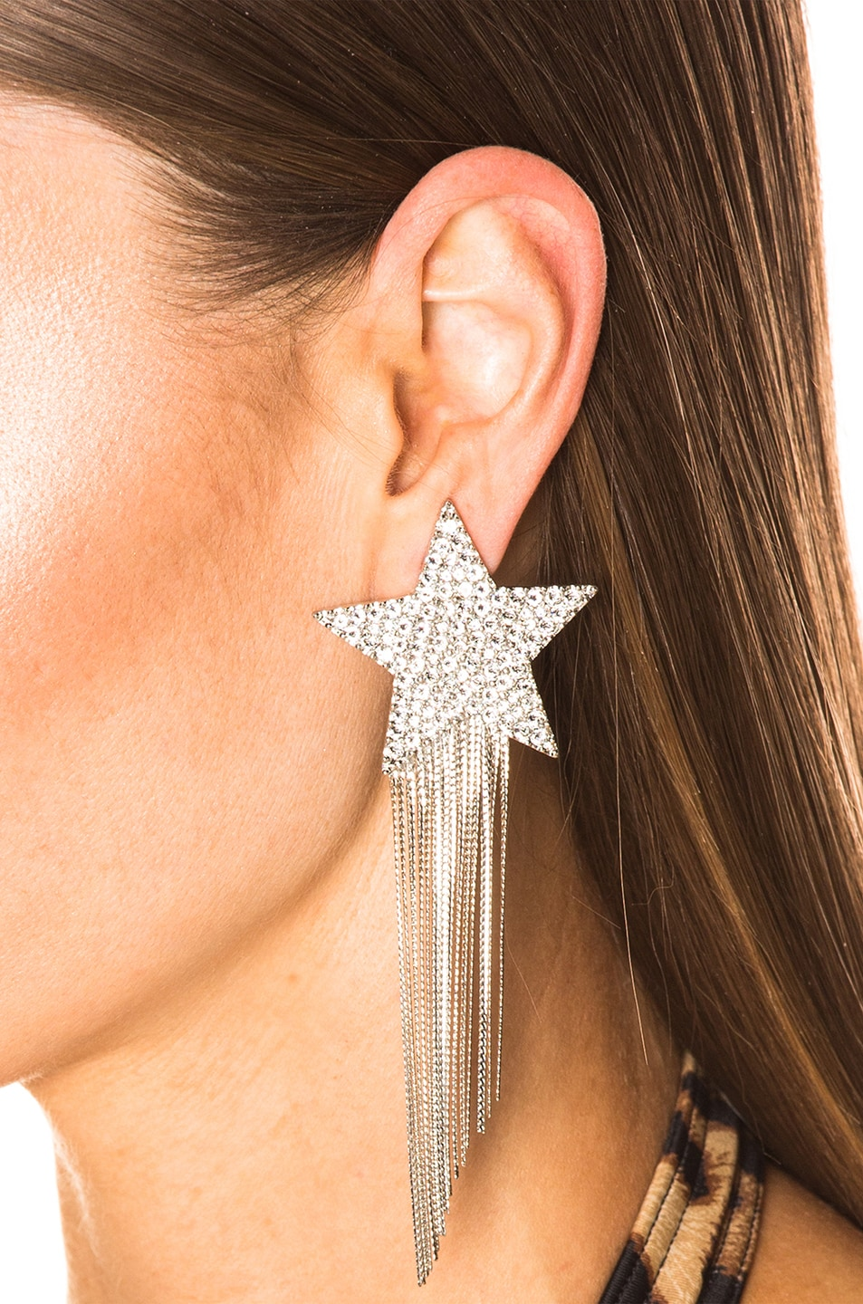 Image 4 of Saint Laurent Shooting Star Earrings in Palladium & Crystal