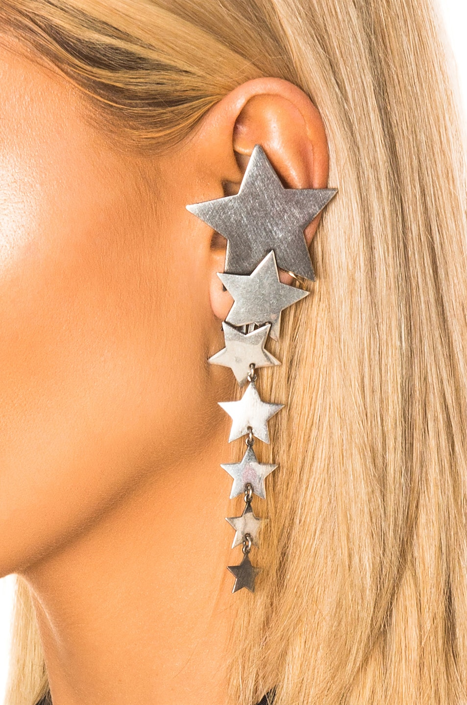 Image 2 of Saint Laurent Star Earring in Oxidized Silver
