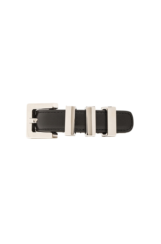 Image 1 of Saint Laurent Signature Belt Bracelet in Black & Silver