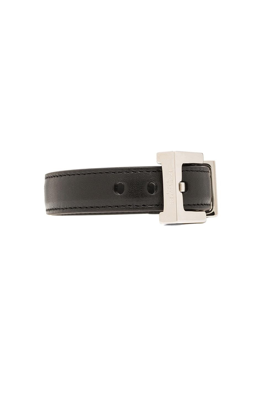 Image 2 of Saint Laurent Signature Belt Bracelet in Black & Silver