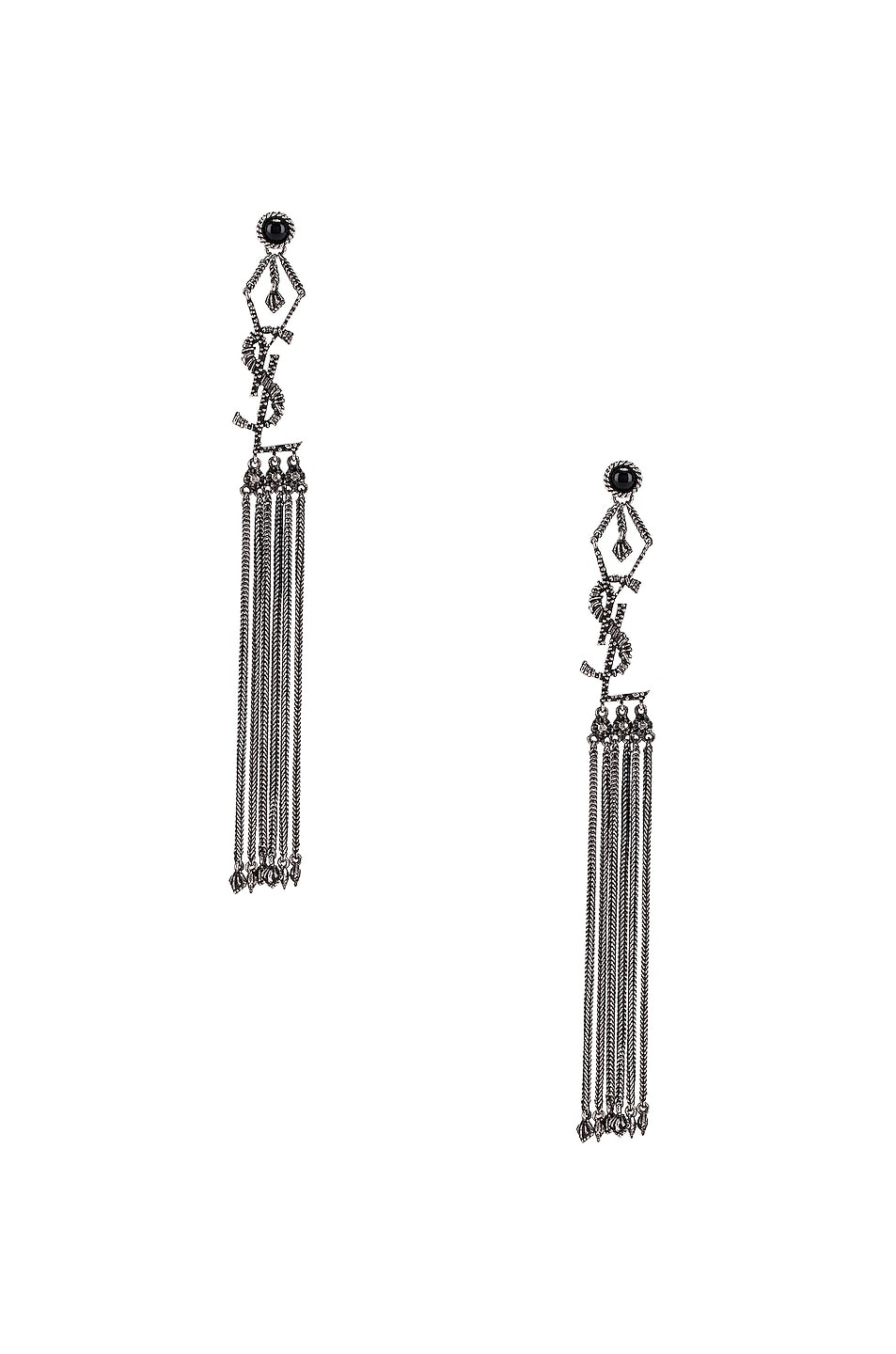 Image 1 of Saint Laurent Logo Earrings in Oxidized Silver & Black