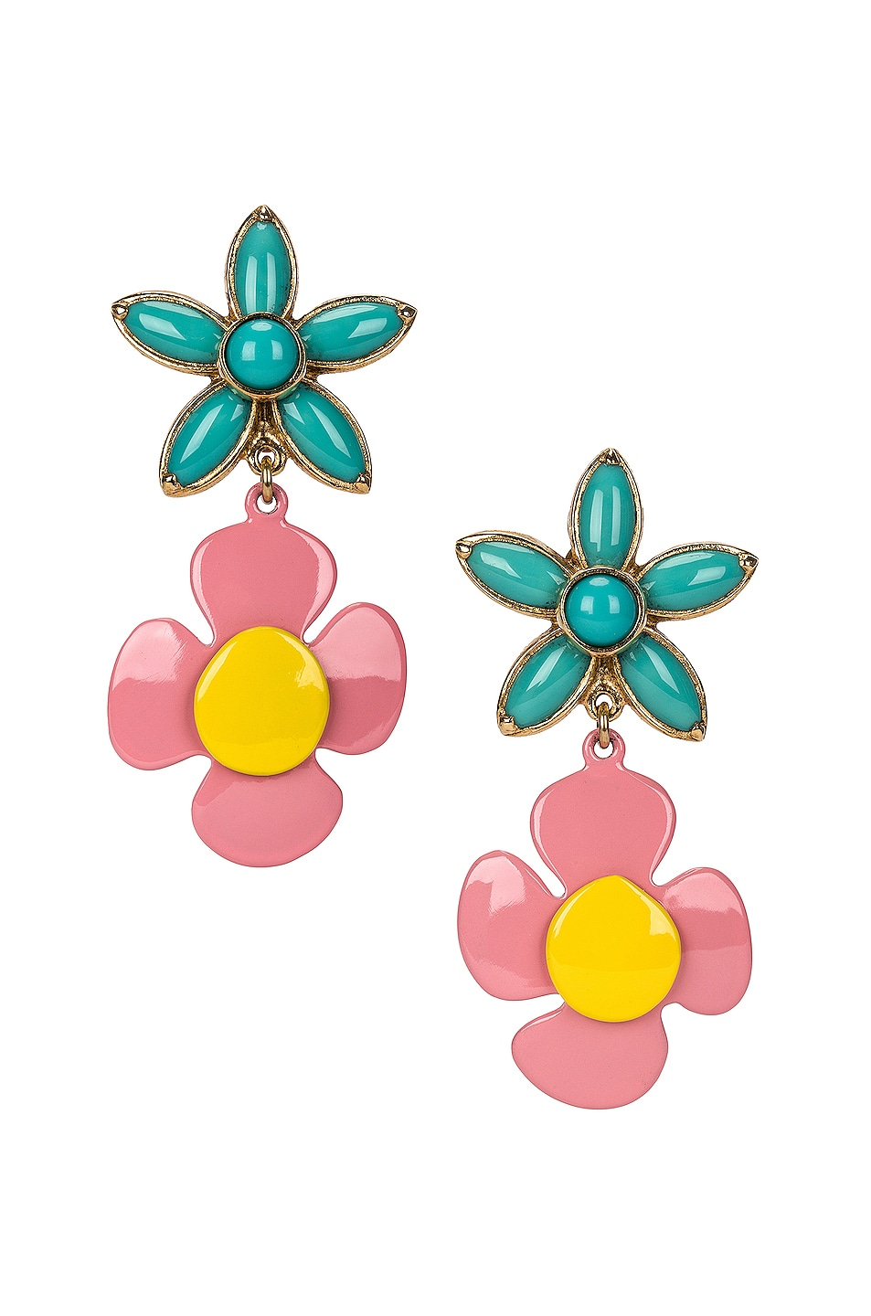 Image 1 of Saint Laurent Duo Flower Earrings in Gold & Blue & Yellow