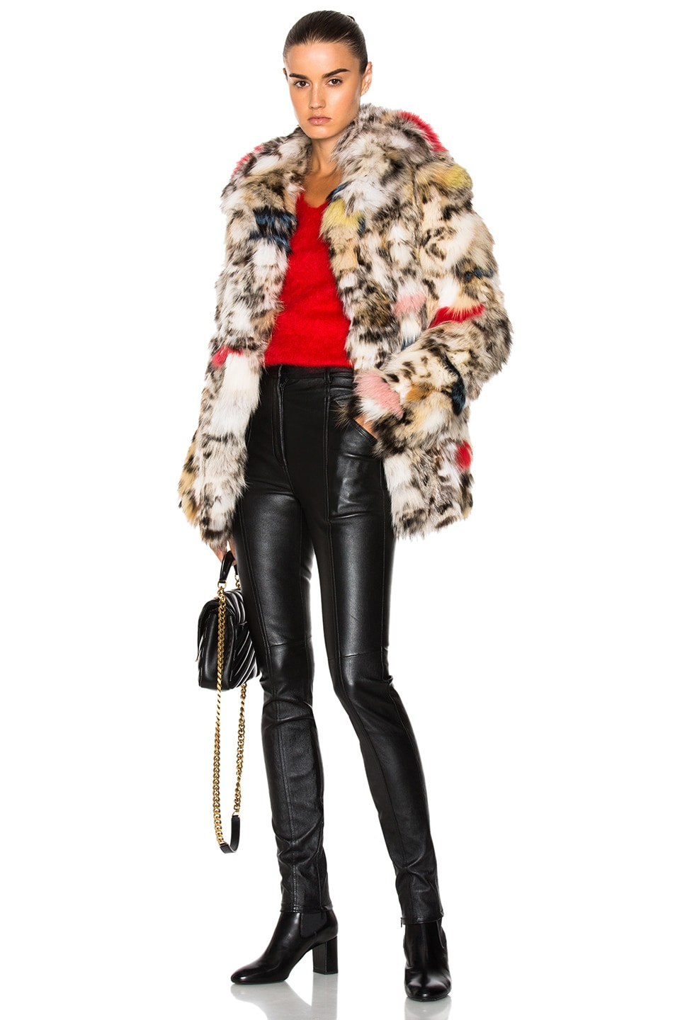 Image 1 of Saint Laurent Leopard Fox Fur Coat in Natural & Multi