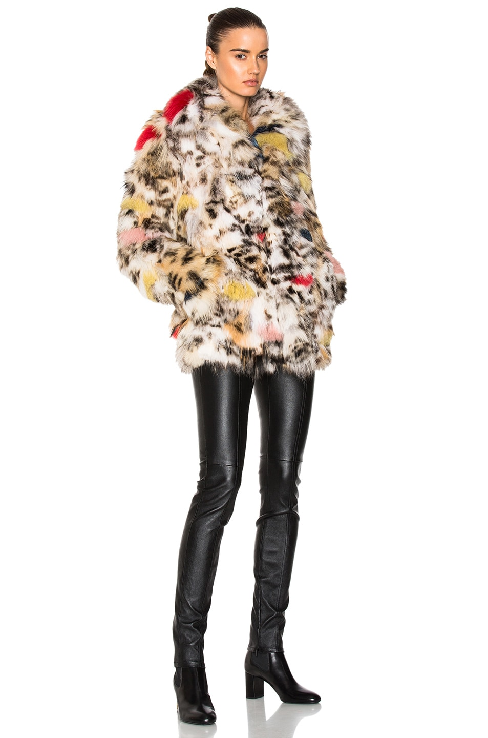 Image 2 of Saint Laurent Leopard Fox Fur Coat in Natural & Multi