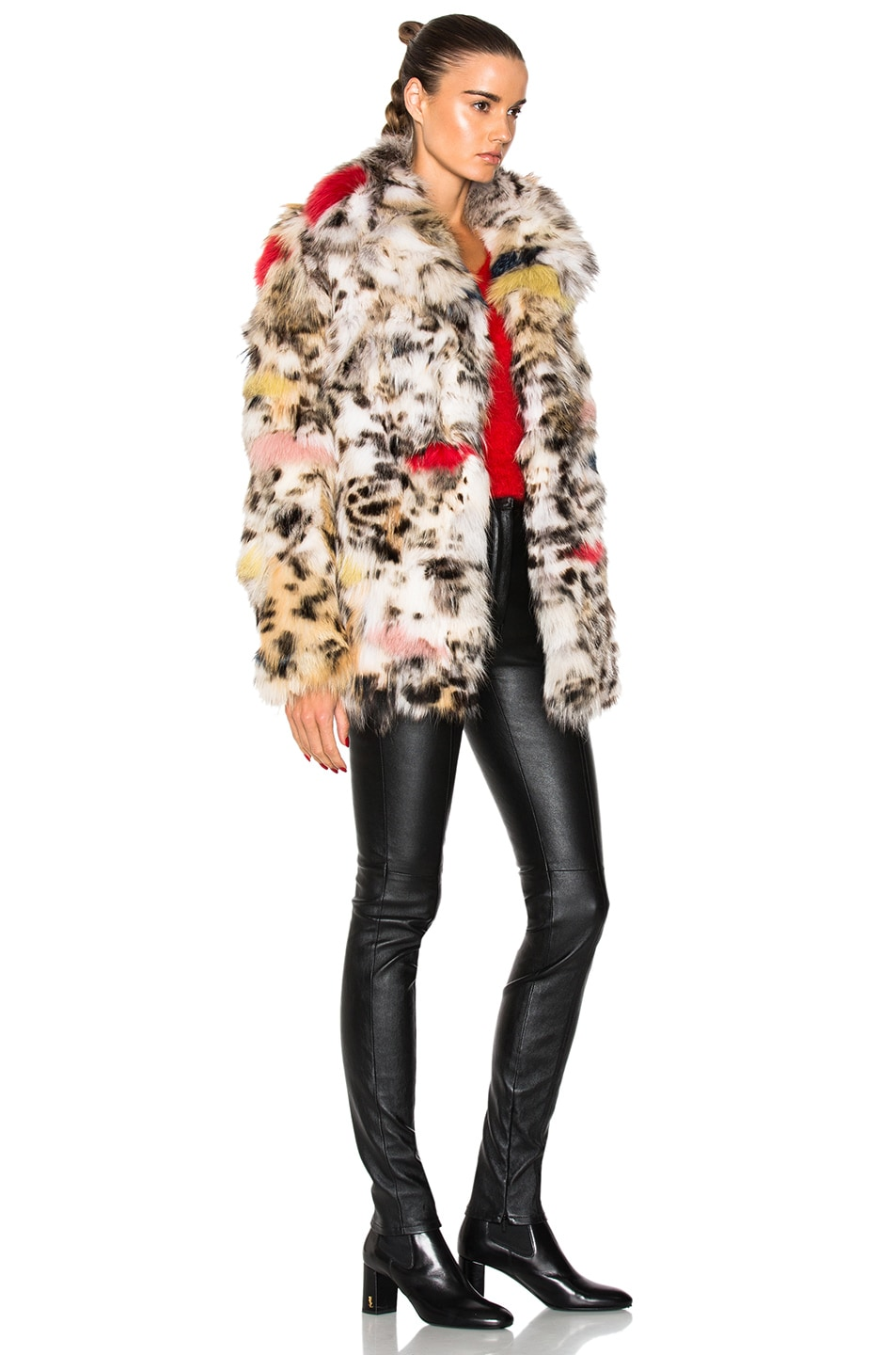 Image 3 of Saint Laurent Leopard Fox Fur Coat in Natural & Multi