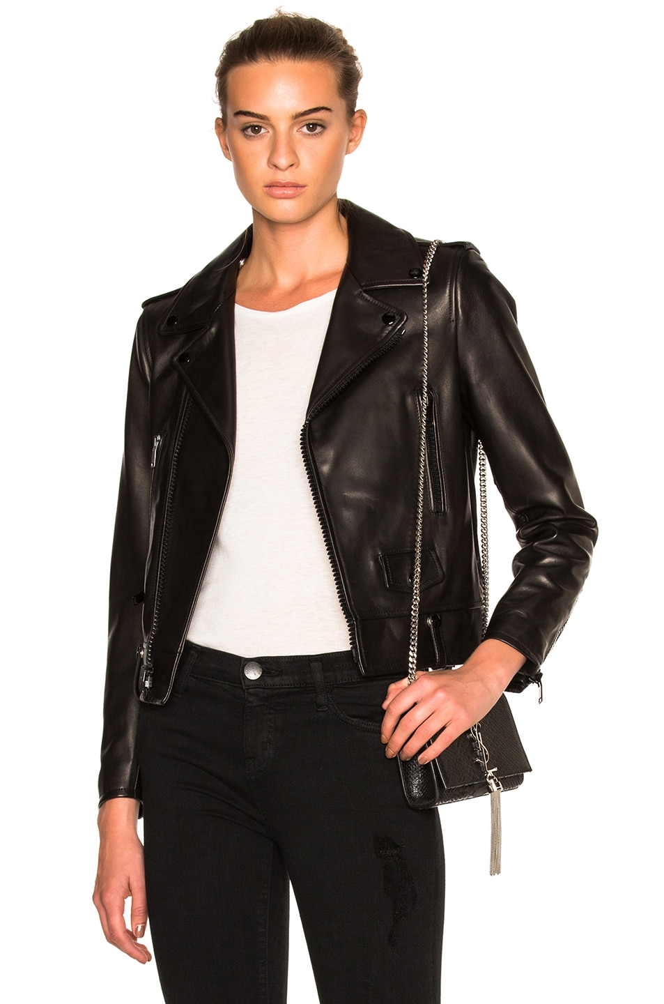 Image 1 of Saint Laurent Classic Motorcycle Jacket in Black & Black