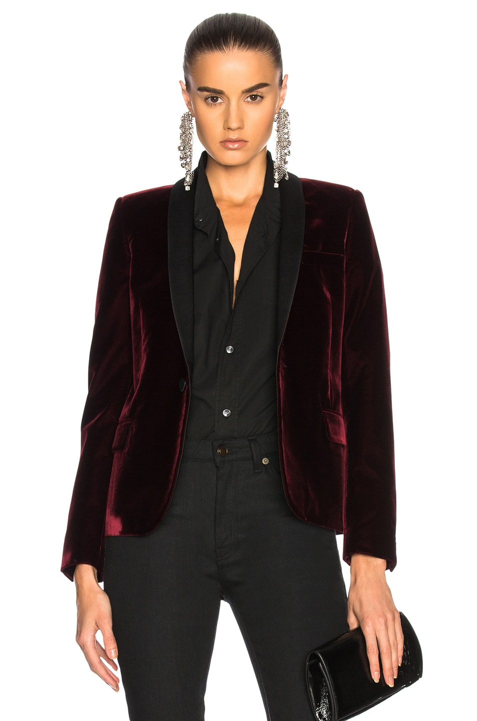 Image 1 of Saint Laurent Velvet Single Button Blazer in Burgundy