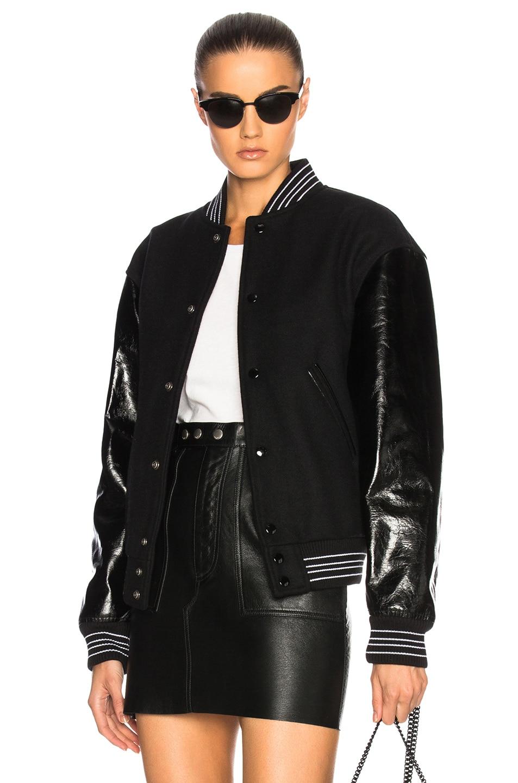 12e9cfc1a Saint Laurent Leather Sleeve Teddy Bomber Jacket in Black   FWRD