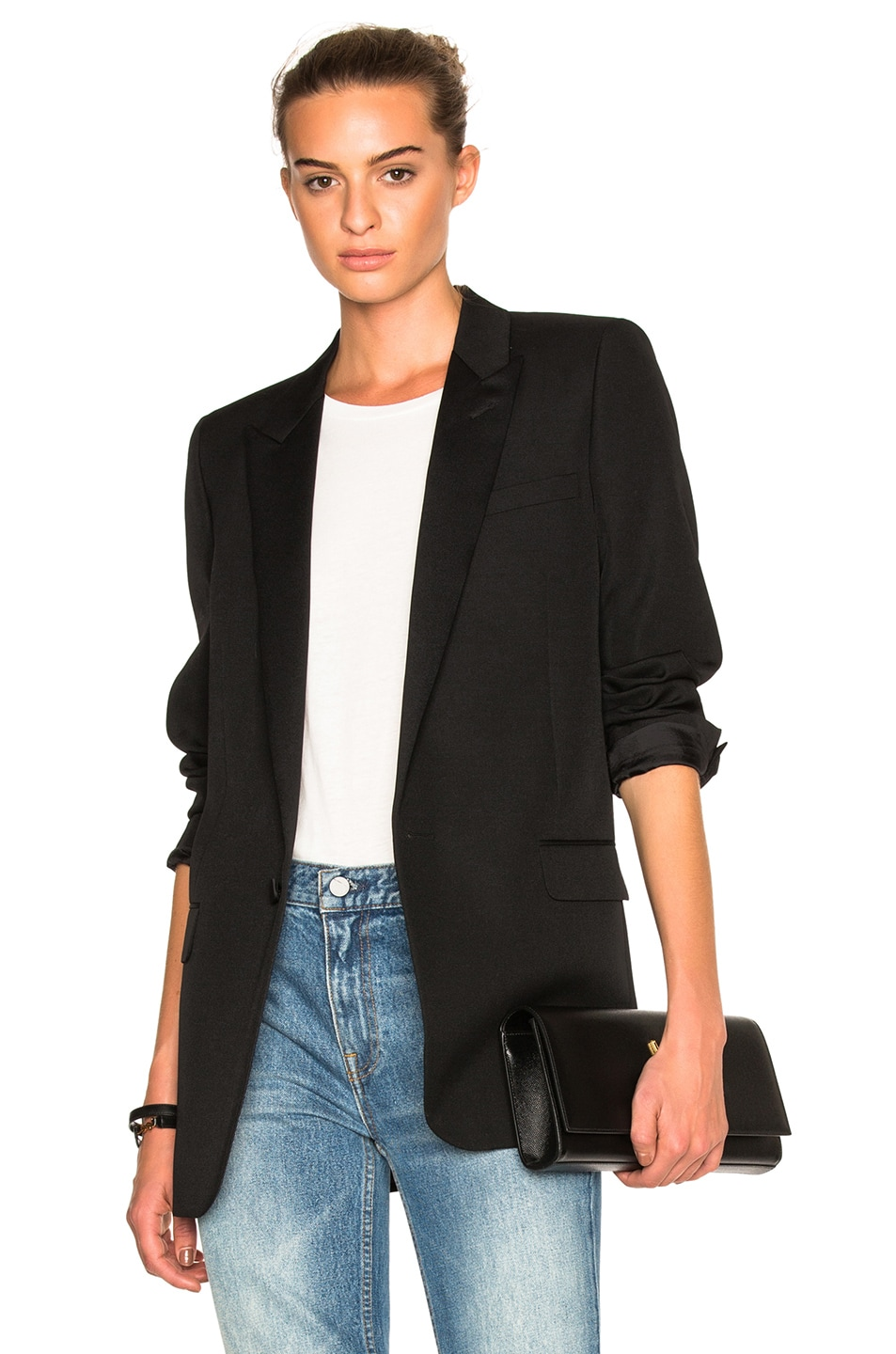 Image 1 of Saint Laurent Satin Lapel Tux Jacket in Black