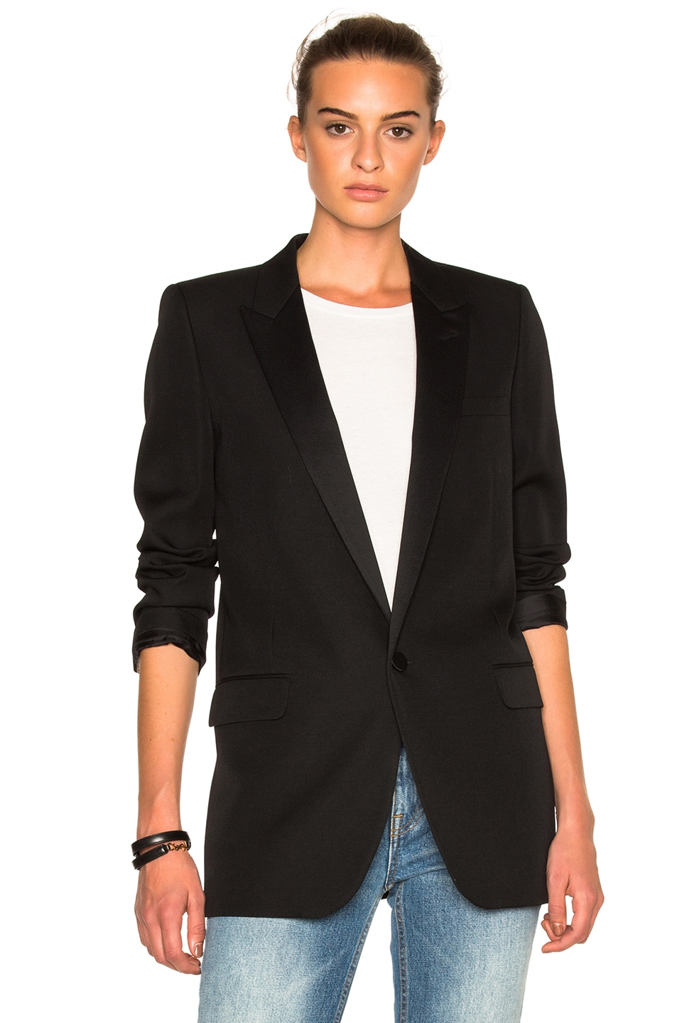 Image 2 of Saint Laurent Satin Lapel Tux Jacket in Black
