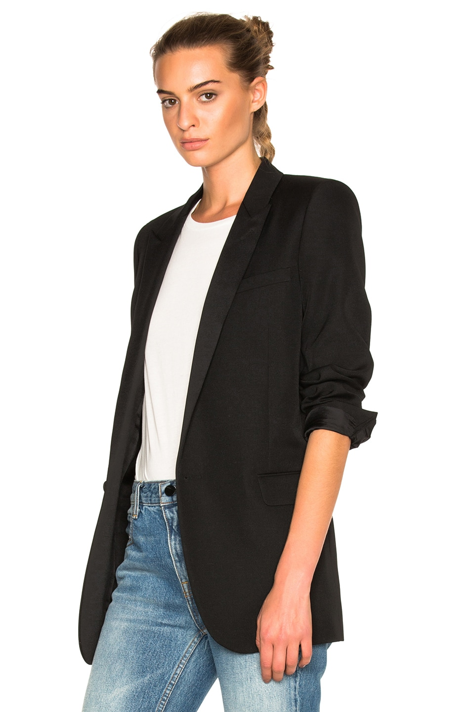 Image 3 of Saint Laurent Satin Lapel Tux Jacket in Black