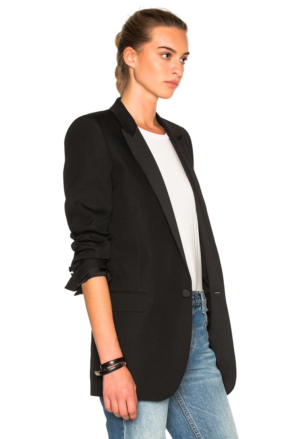 Image 4 of Saint Laurent Satin Lapel Tux Jacket in Black