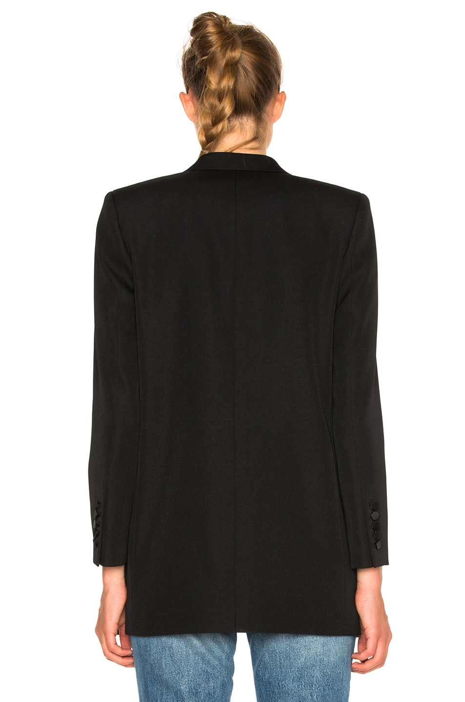 Image 5 of Saint Laurent Satin Lapel Tux Jacket in Black