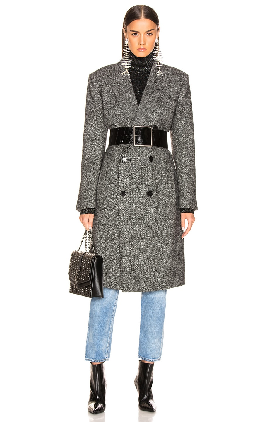 Image 1 of Saint Laurent Tweed Classic Double Breasted Coat in Black & White