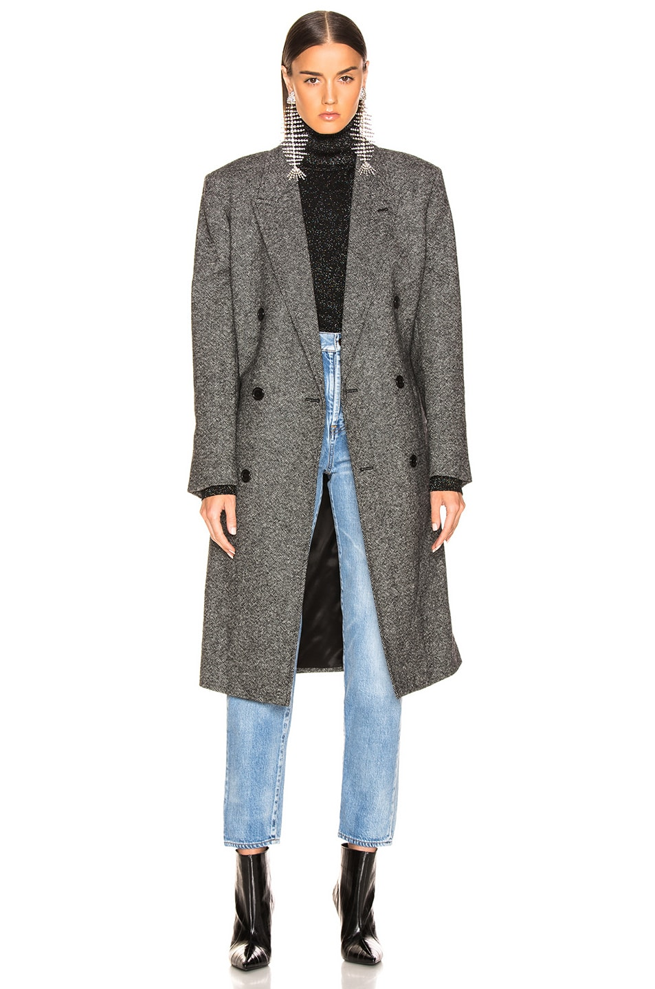 Image 2 of Saint Laurent Tweed Classic Double Breasted Coat in Black & White