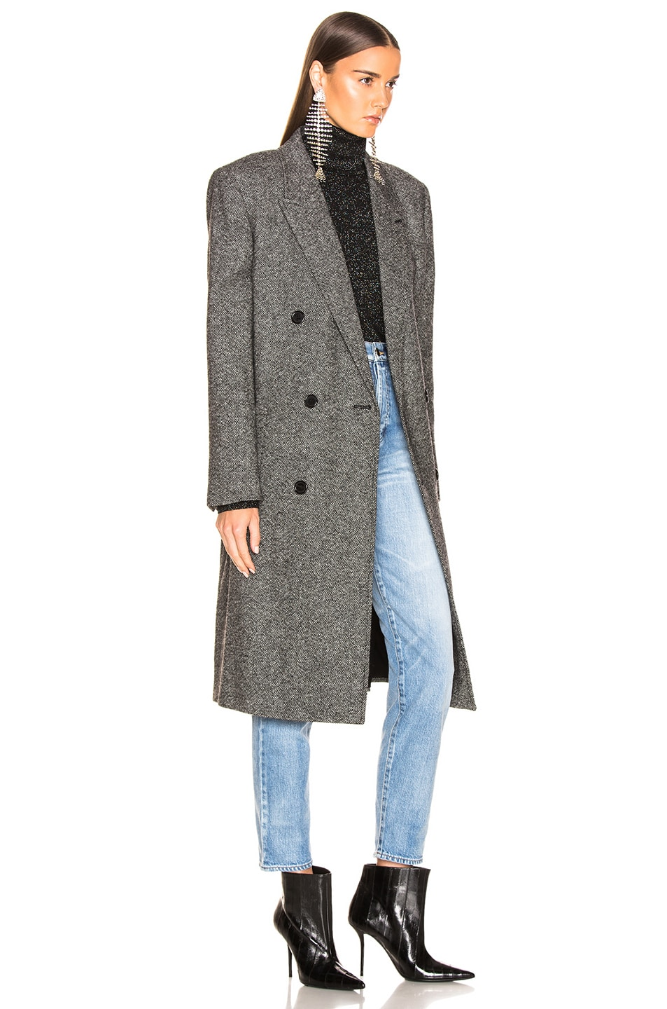 Image 3 of Saint Laurent Tweed Classic Double Breasted Coat in Black & White