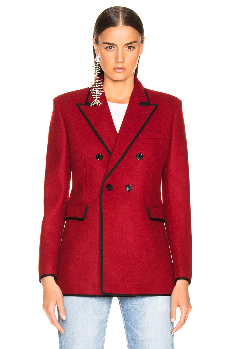 Image 2 of Saint Laurent Contrast Trim Double Breasted Blazer in Red