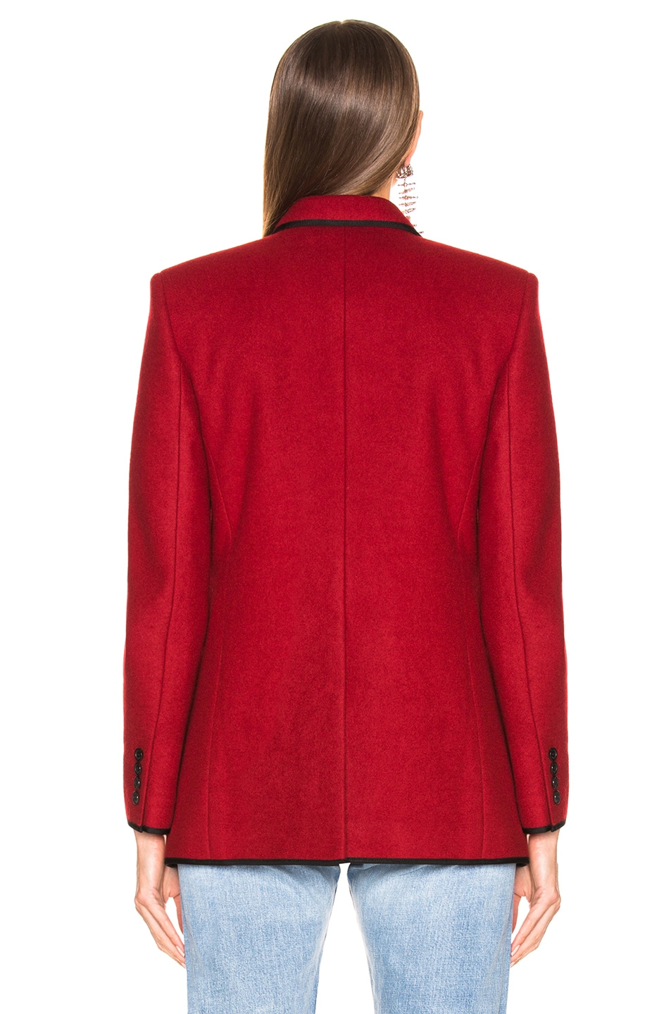 Image 4 of Saint Laurent Contrast Trim Double Breasted Blazer in Red