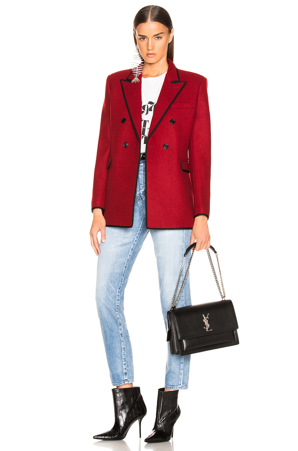 Image 5 of Saint Laurent Contrast Trim Double Breasted Blazer in Red