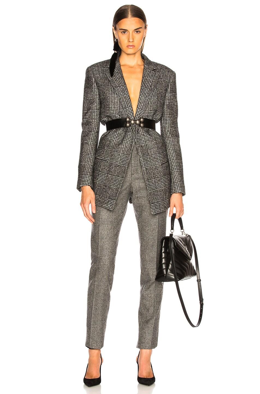 Image 5 of Saint Laurent Check Open Blazer in Black & Chalk