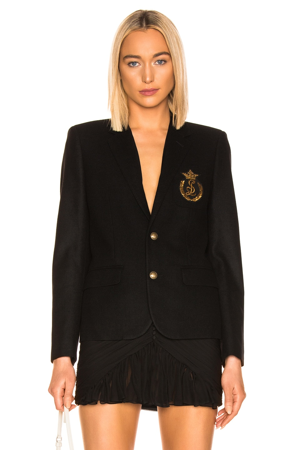 Image 1 of Saint Laurent Logo Blazer in Black