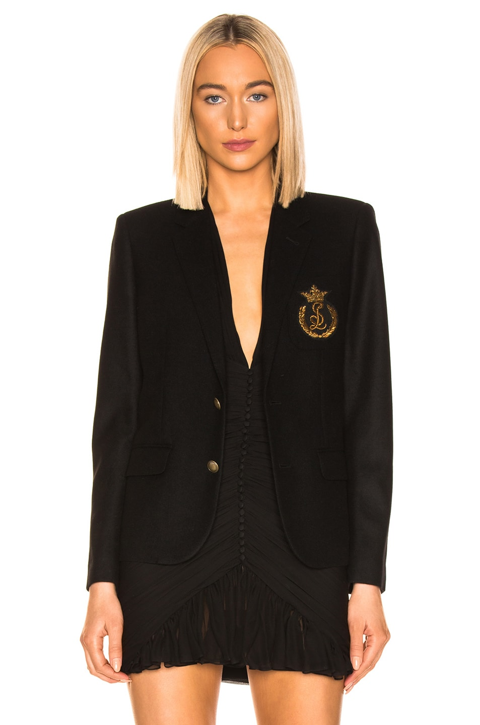 Image 2 of Saint Laurent Logo Blazer in Black