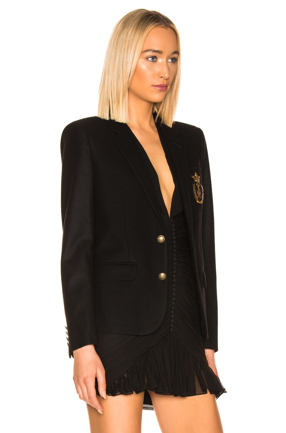 Image 3 of Saint Laurent Logo Blazer in Black
