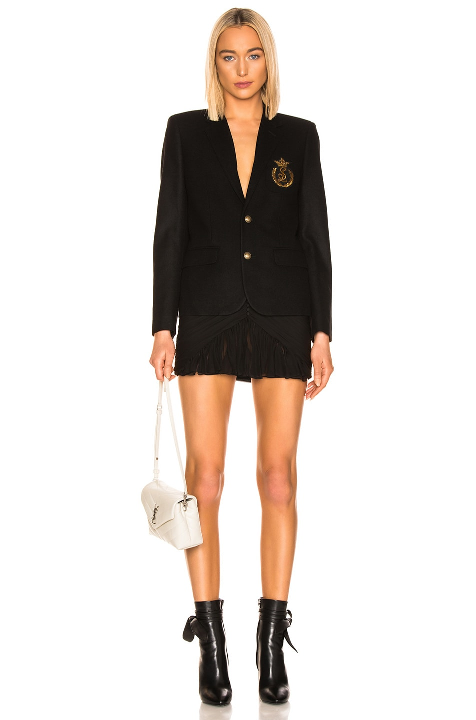 Image 6 of Saint Laurent Logo Blazer in Black