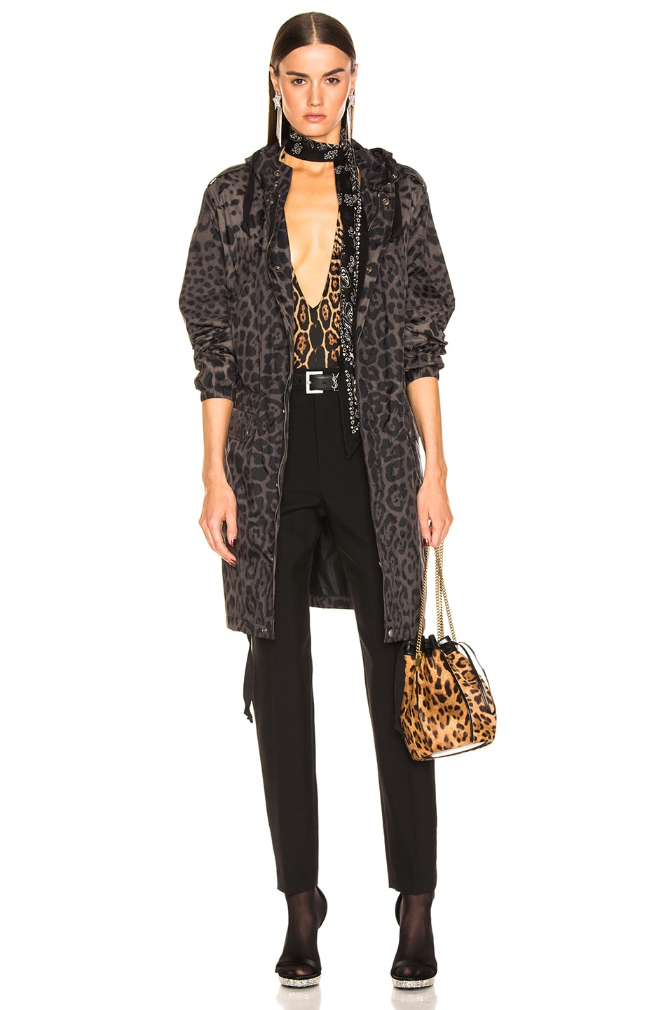 Image 1 of Saint Laurent Leopard Jacket in Militaire
