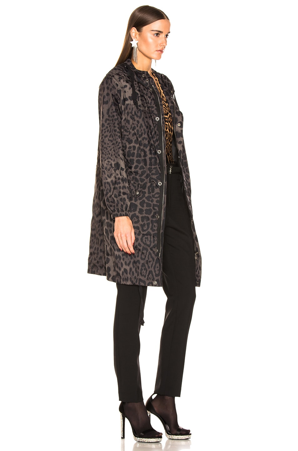 Image 3 of Saint Laurent Leopard Jacket in Militaire