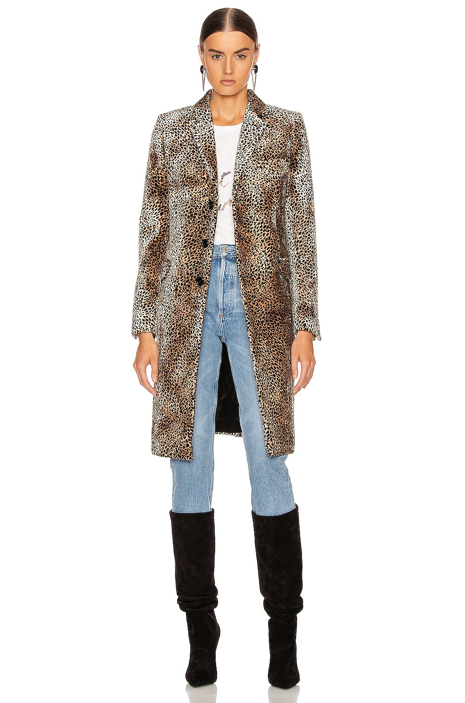 Image 1 of Saint Laurent Leopard Coat in Beige & Black