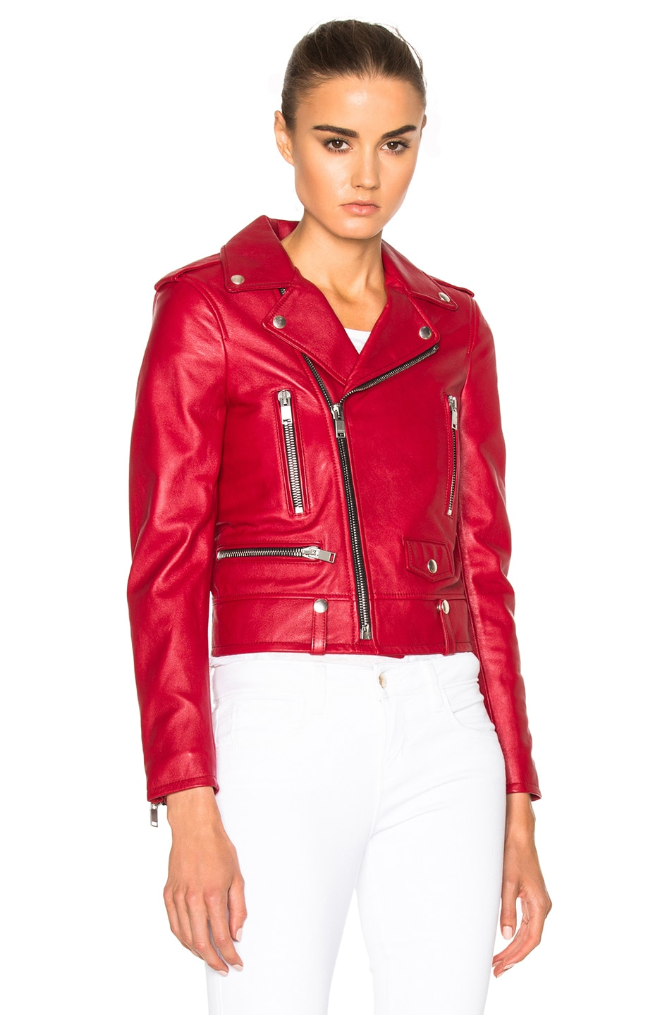 Image 2 of Saint Laurent Classic Motorcycle Jacket in Red