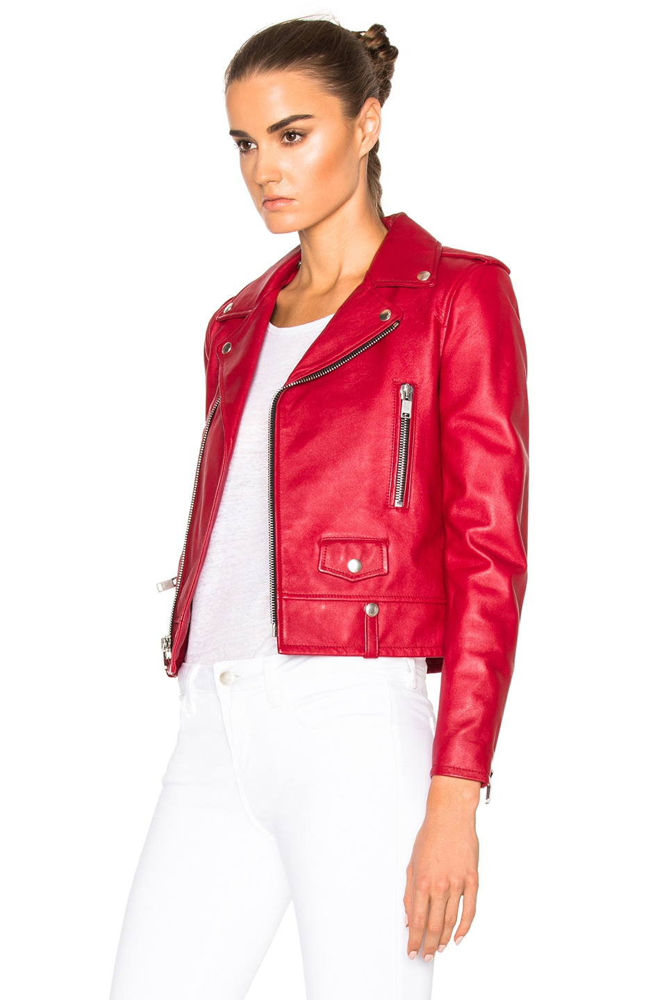 Image 3 of Saint Laurent Classic Motorcycle Jacket in Red
