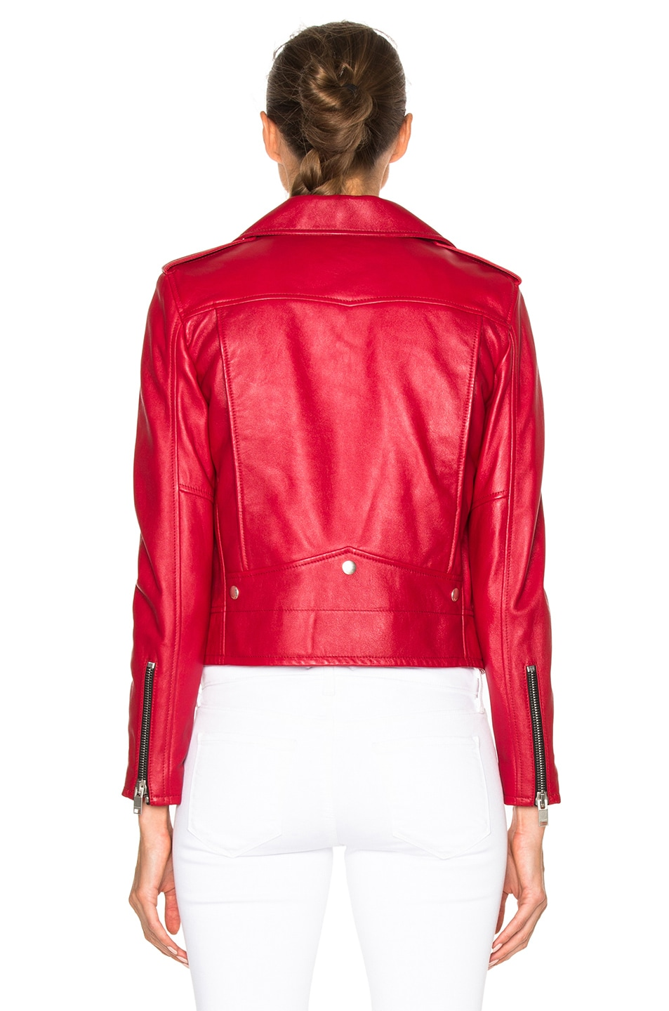 Image 5 of Saint Laurent Classic Motorcycle Jacket in Red