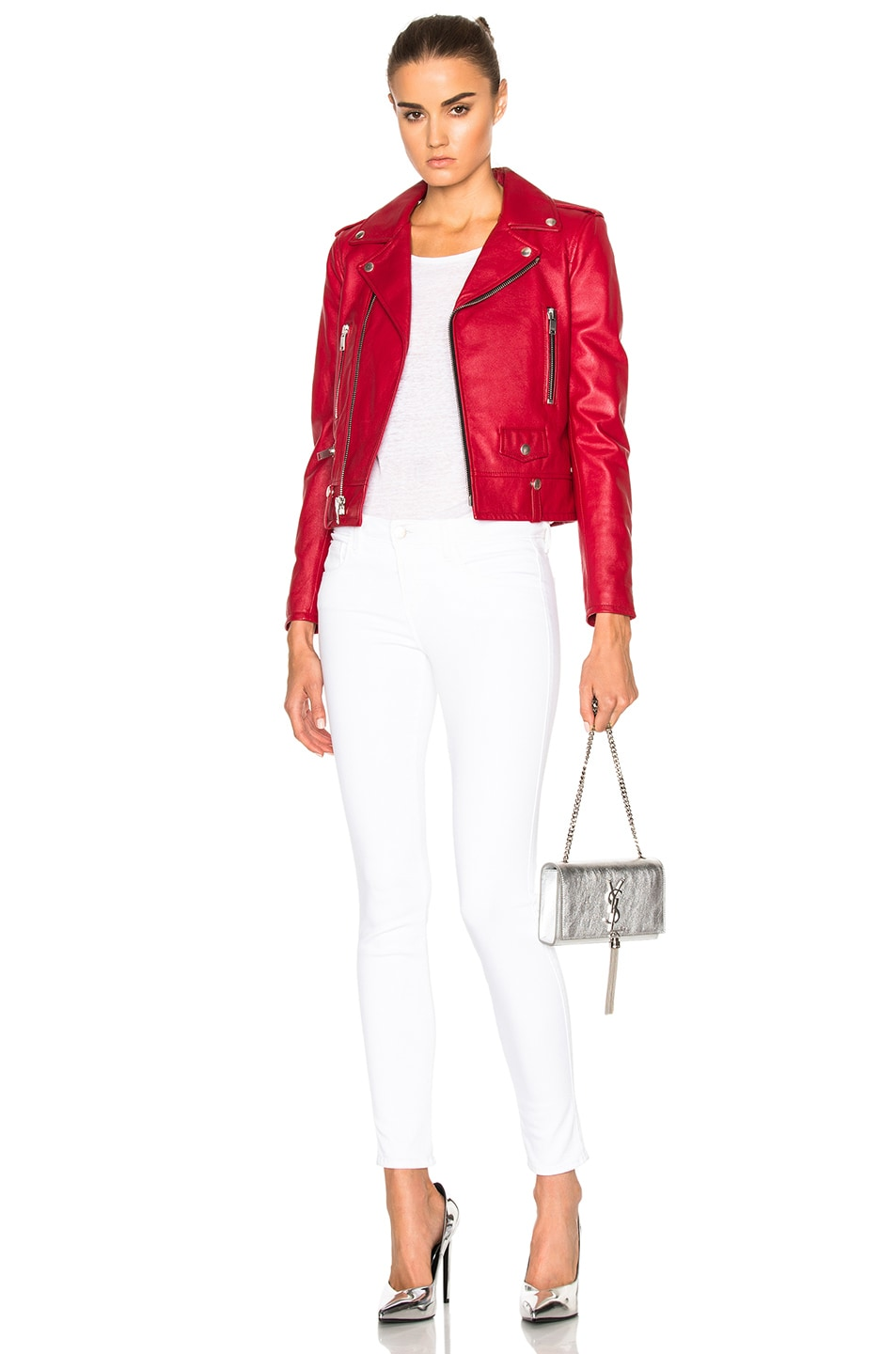 Image 6 of Saint Laurent Classic Motorcycle Jacket in Red