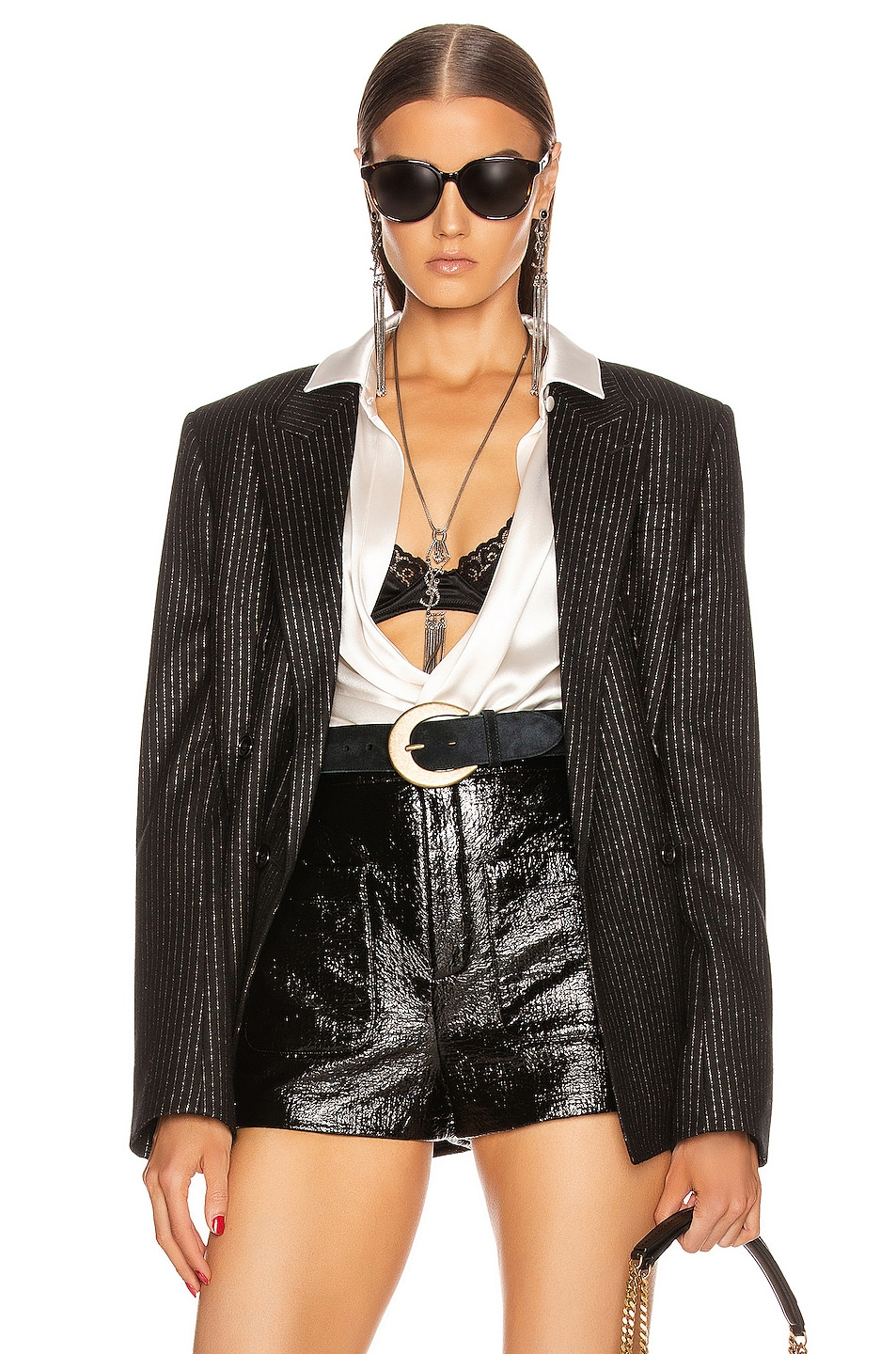 Image 1 of Saint Laurent Pinstripe Double Breasted Jacket in Black
