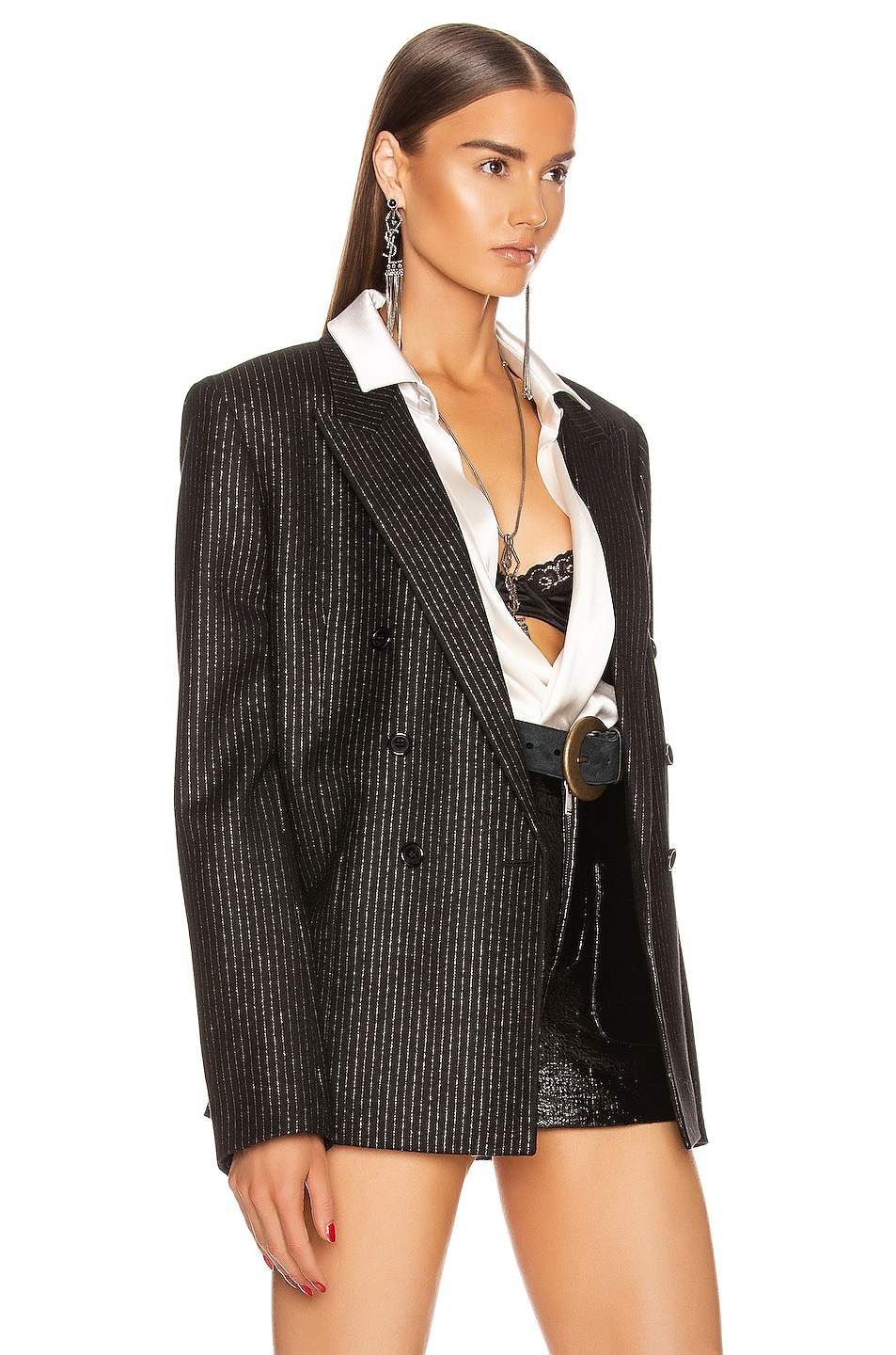 Image 3 of Saint Laurent Pinstripe Double Breasted Jacket in Black