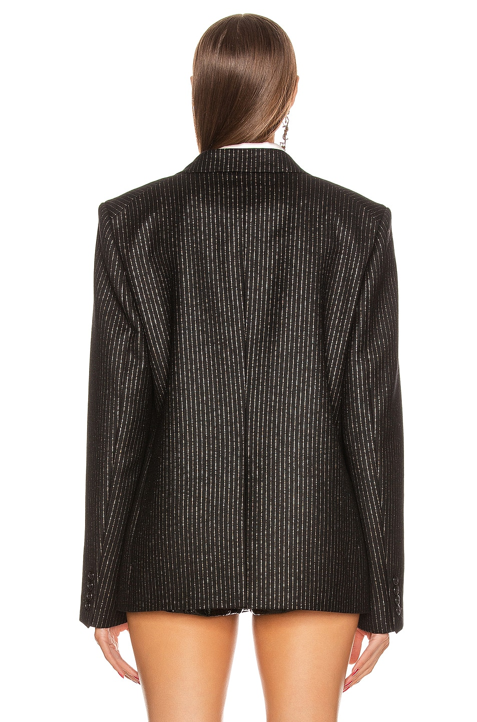 Image 4 of Saint Laurent Pinstripe Double Breasted Jacket in Black