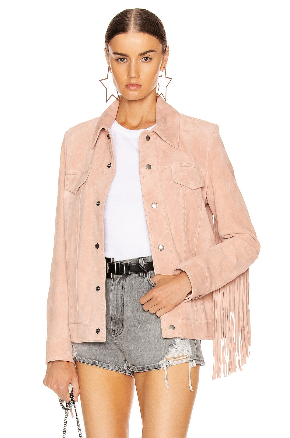 Image 2 of Saint Laurent Fringe Jacket in Rose Pale