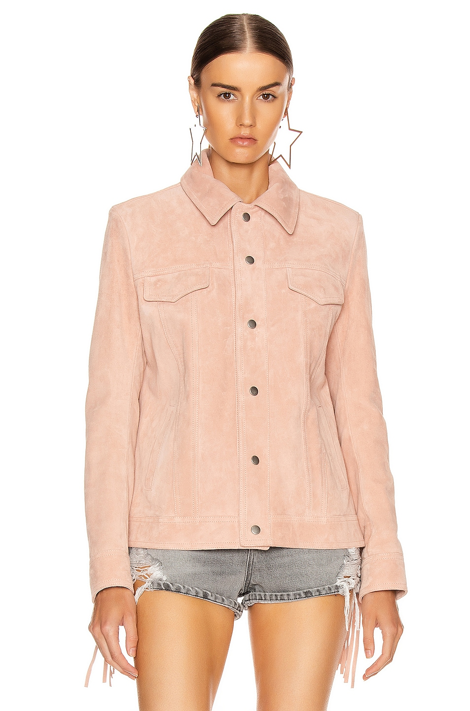 Image 3 of Saint Laurent Fringe Jacket in Rose Pale