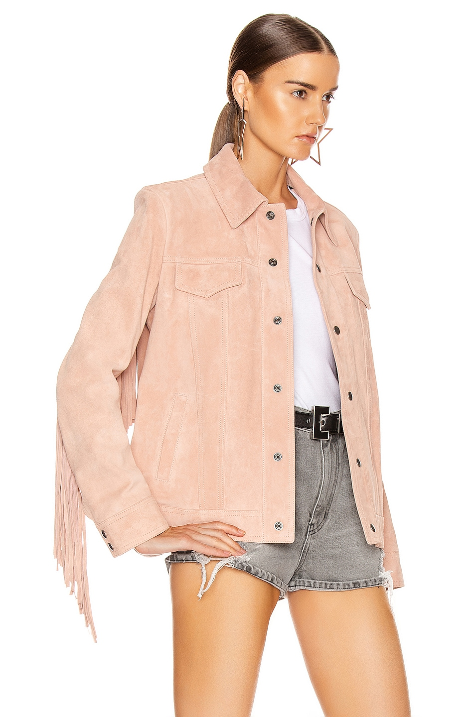 Image 4 of Saint Laurent Fringe Jacket in Rose Pale