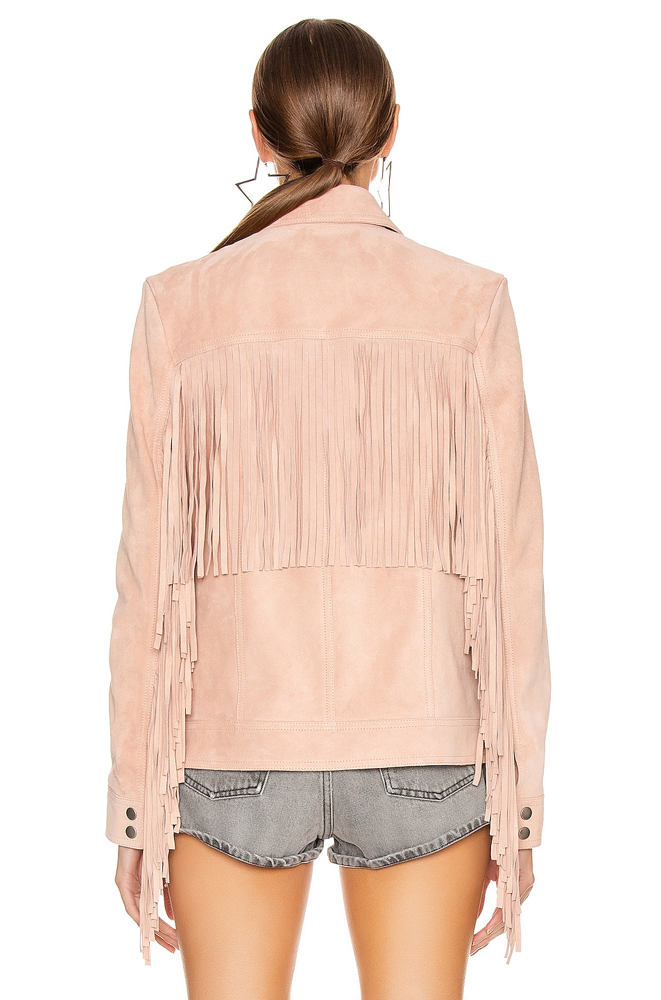 Image 5 of Saint Laurent Fringe Jacket in Rose Pale