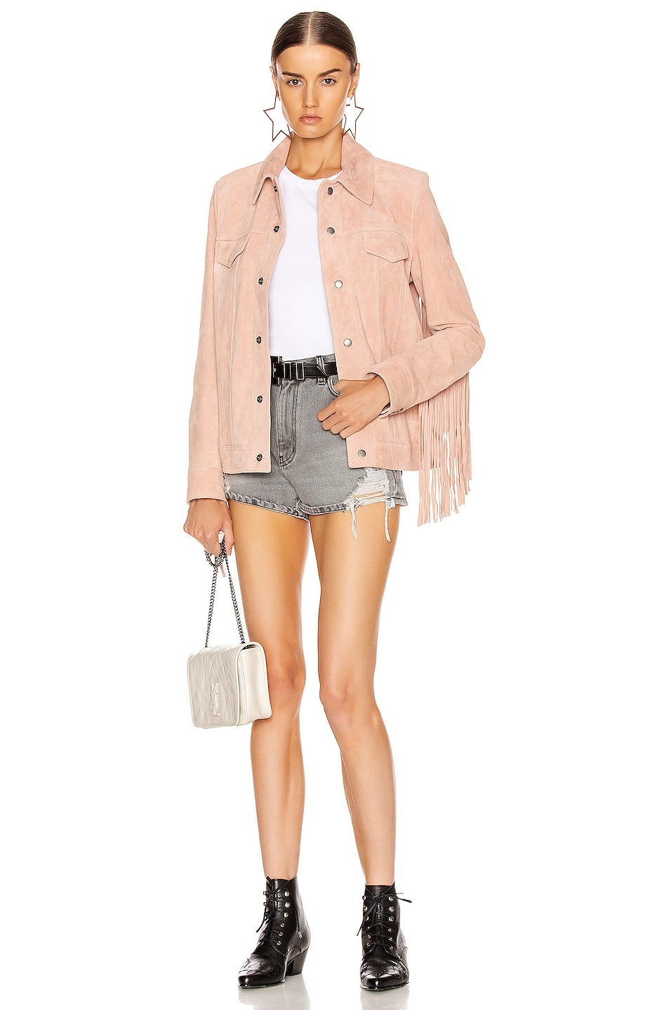 Image 6 of Saint Laurent Fringe Jacket in Rose Pale